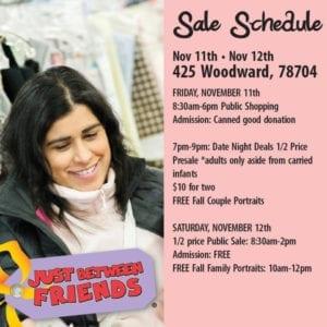 Sale Schedule Just Between Friends 2016