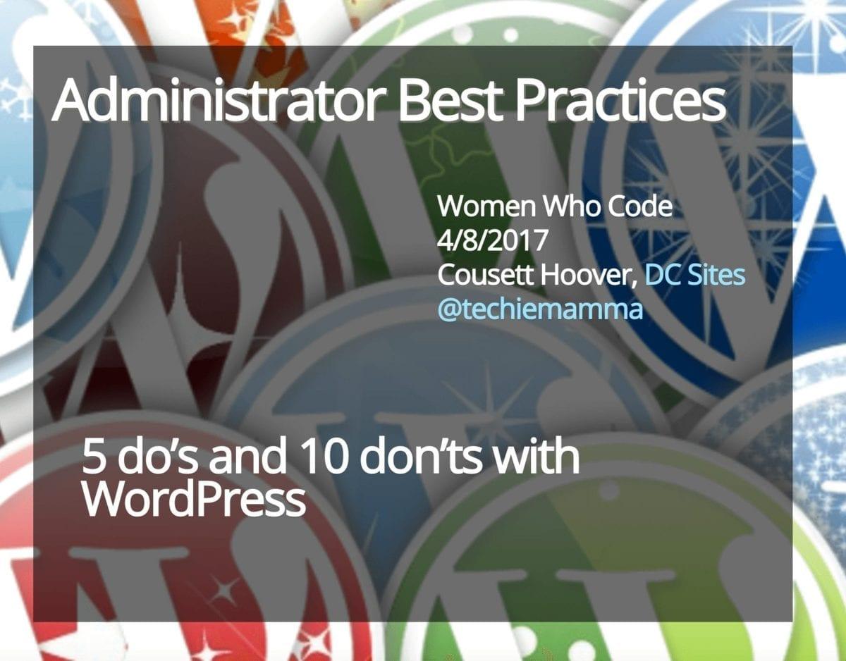 Administrator Best Practices
