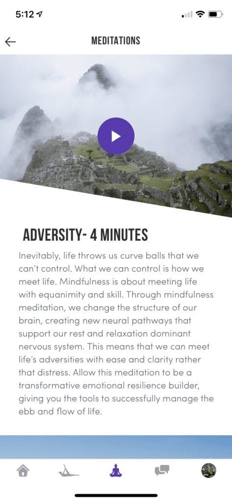 meditate tab in matriarc app
