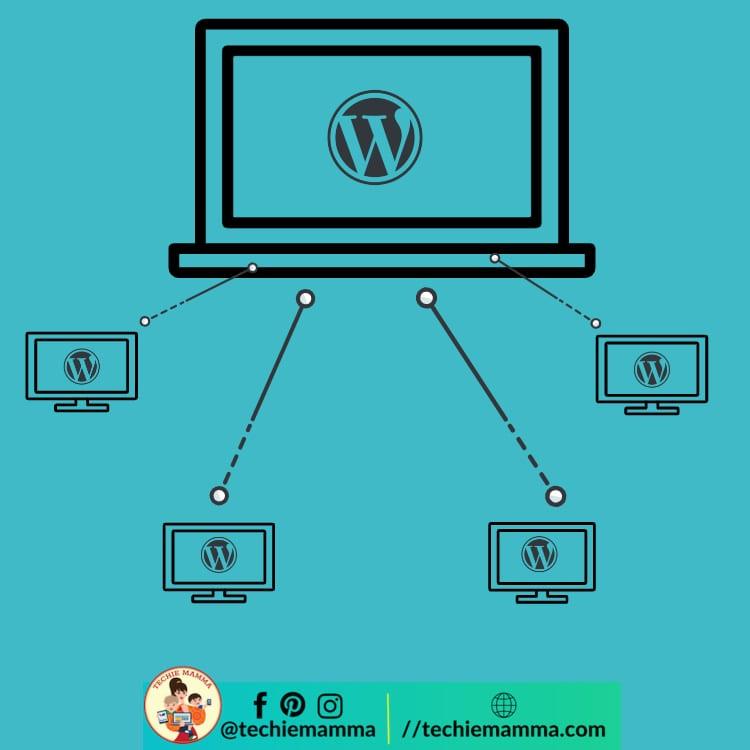 Iconic diagram of a WordPress Multisite