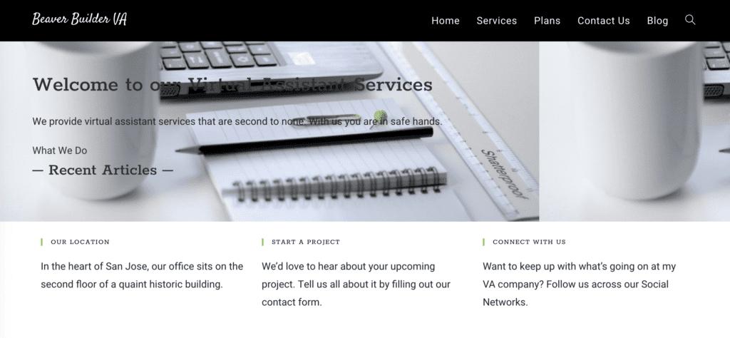 VA Website with Beaver Builder plugin disabled.