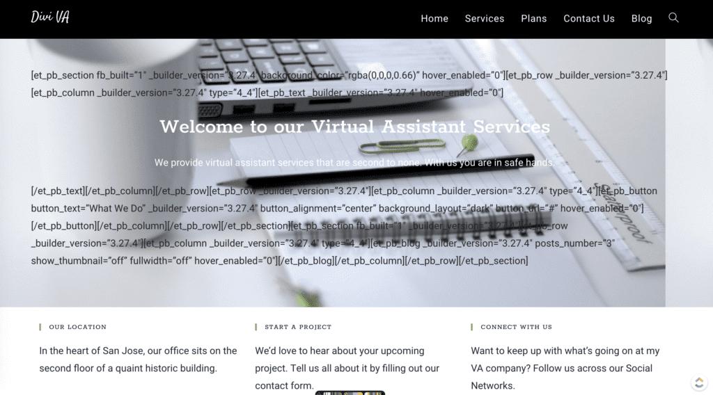 VA Website with Divi plugin disabled.