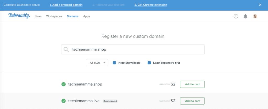 Rebrandly purchasing a domain.