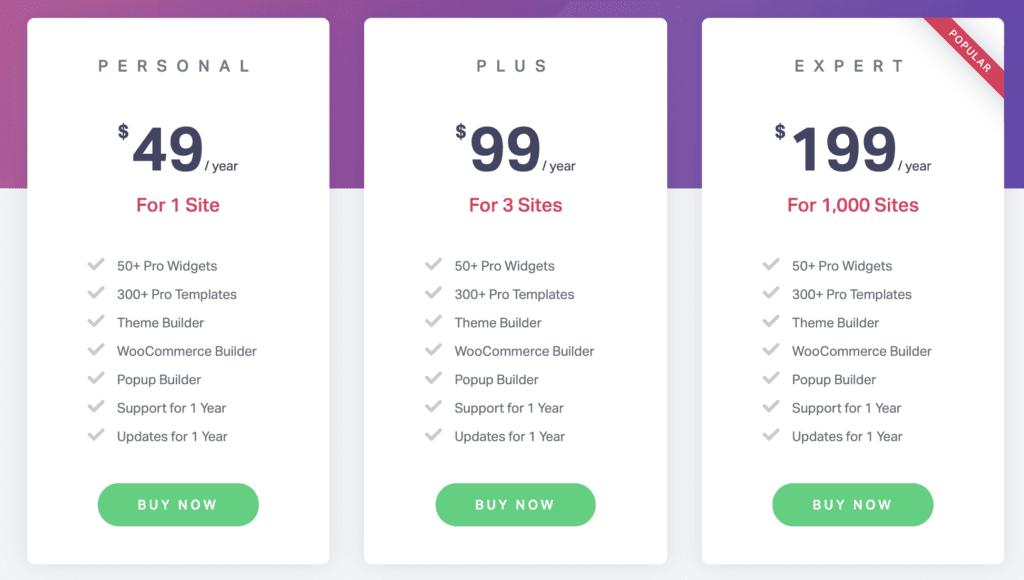 Elementor pricing starts at $49.