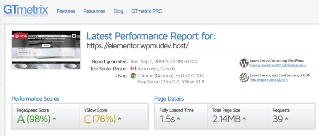 Elementor Speed Report