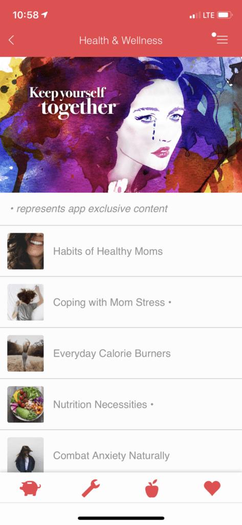 Mom Stuff Health & Wellness section.