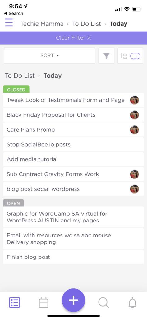 ClickUp App Main Screen