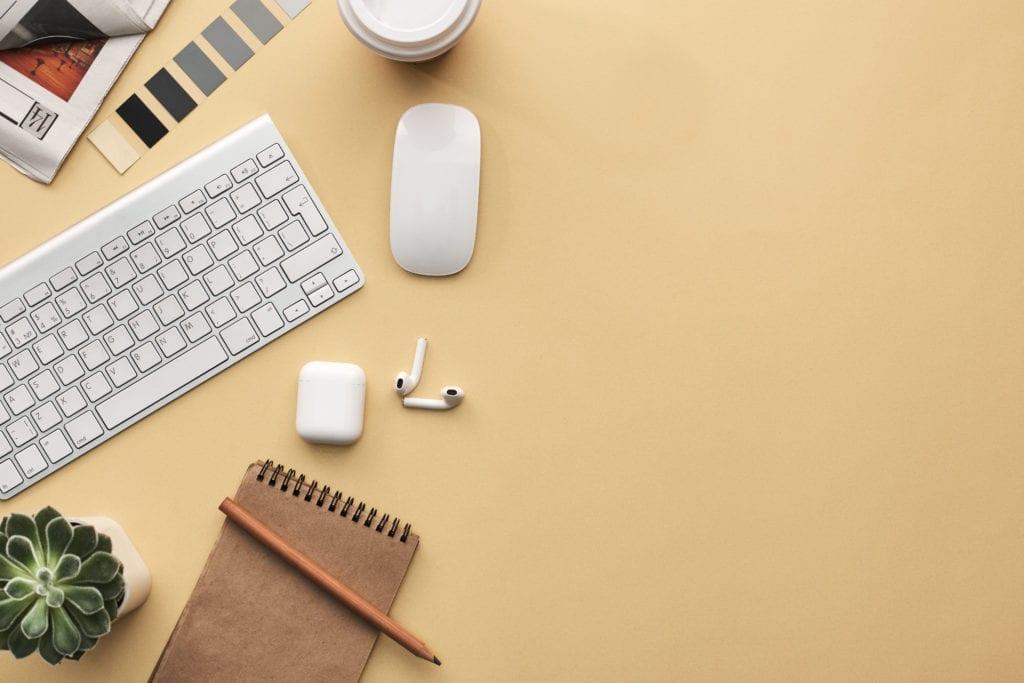 Photo of keyboard near mouse